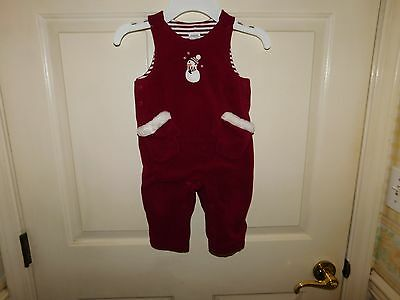 Gymboree Boys Sleeveless Red Christmas Overalls Size 6-12 Months *NICE