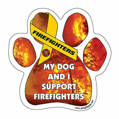 My Dog And I Support Firefighters Dog Paw Car Magnet