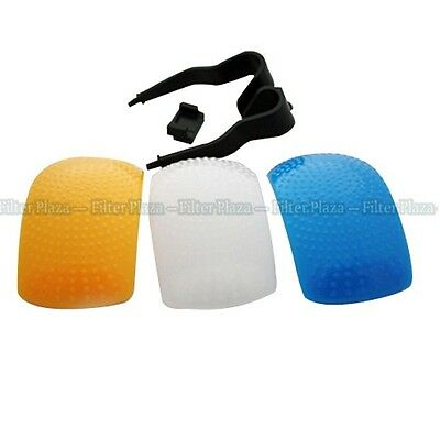 3 Colores Plumas Pop-Up Flash Suave Difusor Domo Kit Para Canon Nikon Pentax