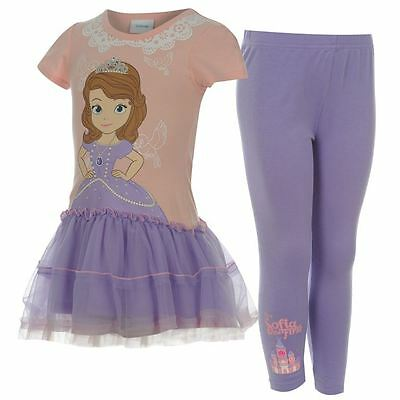 *disney Princess Sofia The First Outfit Set Top Leggings Tutu Skirt 5 - 6 Years*