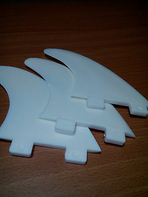 SURFBOARD FINS FCS G5 Compatible WHITE Tabbed. Tough Nylon. 3 Fin THRUSTER Set