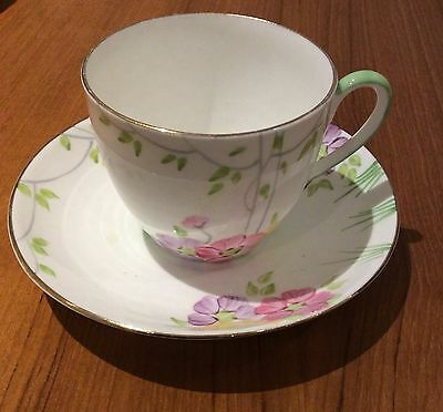 Hand Painted Made in England Flower Tea Cup & Saucer Set - 2 Piece Set