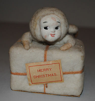 Stunning German Antique Snowbaby Gift Box Merry Christmas Candy Container Rare
