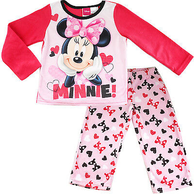 new kids Girls Minnie mouse winter pyjama pjs micro fleece size 4-10 sleepwear
