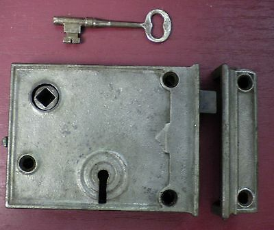Antique Cast Iron Rim Lock W/ Keyed Deadbolt Right Hand Only #6