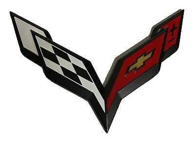x1 New Black / Red Corvette Emblem Replaces OEM Front Grille / Rear Trunk Badge
