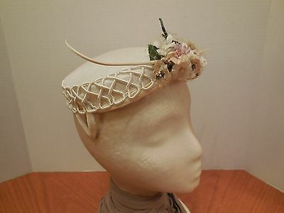 Vintage White Hat with Flowers