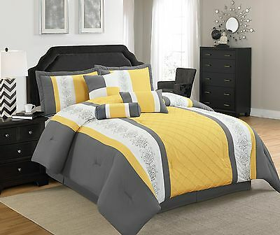 7 pcs Comforter Set with Embroidered Design  Twin, Full, Queen, King & Cal King