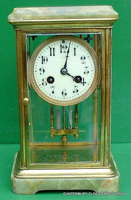 Art-Deco Petite French Green Onyx Four Glass Crystal Regulator Boudoir Clock