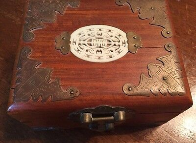 Vintage Wooden Trinket Jewelry Box Made In Hong Kong