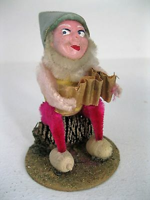 Vintage Christmas Chenille Pixie Elf Gnome Playing Instrument Japan