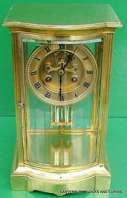 Art-Deco Bow Front Open Escapement Crystal Regulator Four Glass Mantle Clock