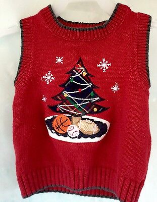 Infant Boys GREENDOG Red Christmas Sweater Sports Vest  Size 18 Months