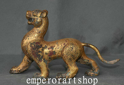 """8"""" Old China Folk Antique Purple Bronze 24K Gold  The king  Beasts Tiger statue"""