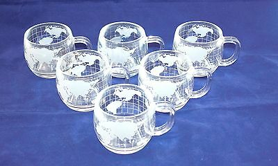Vintage 1970's Nestle Nescafé Glass World Mugs Cups Set Of 6