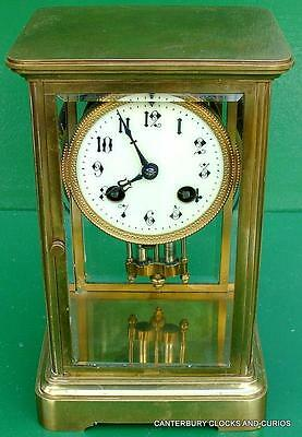 Art-Deco French Corniche 8 Day Four Glass Crystal Regulator Mantle Clock