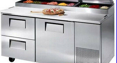 "New 67"" REFRIGERATED PIZZA SALAD PREP TABLE 20 Cu. Ft. RESTAURANT w/ 33 PANS"