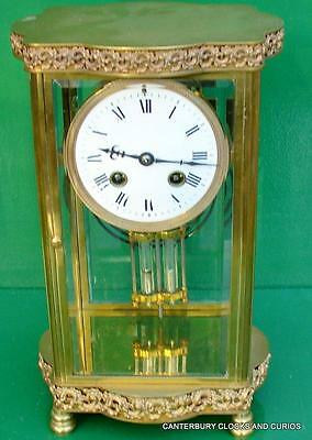 Art-Deco Ornate Bow Front French 8 Day Crystal Regulator Four Glass Mantle Clock