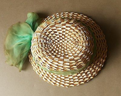 Vintage 1930s Women's Green Silk Trimmed Straw Hat- Gayes Hat Box South Yarra