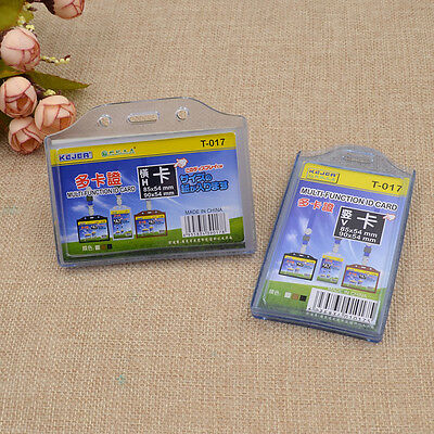 Clear Pocket Vertical Horizontal Business ID Card Badge Holder Office Supplies