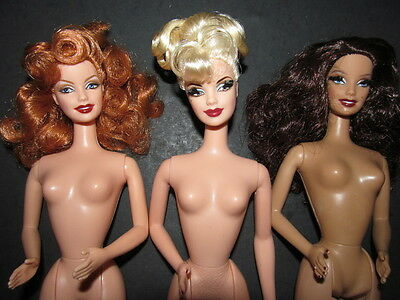 Pin Up Girl Barbie LOT Lady Luck Hula Honey Way Out West Red Head Nude Set
