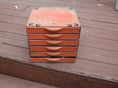 Vintage Equipto Industrial Metal Cabinet 6 Drawer / 3 Sections w/Accessories