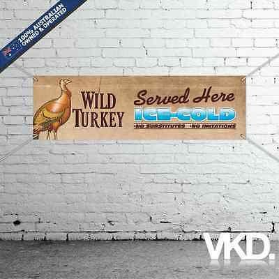 Wild Turkey Banner - For Man Cave Work Shop Garage Shed Bar Flag Sticker Bourbon