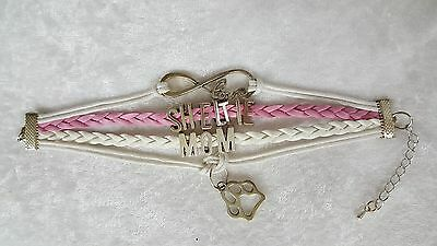 Sheltie Mom Dog, Shetland Sheepdog Bracelet Pink & White With Charms