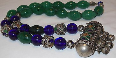 Old Berber Bead Koran Prayer Box Necklace Green Quartz Blue Peking Glass Signed