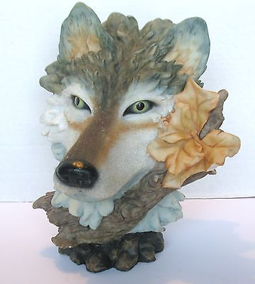 Large Vintage Resin GRAY WOLF HEAD FIGURINE STATUE On Log With Flower, Damaged