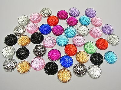 100 Mixed Color Flatback Resin Dotted Round Rhinestone Gems 12mm Cabochon