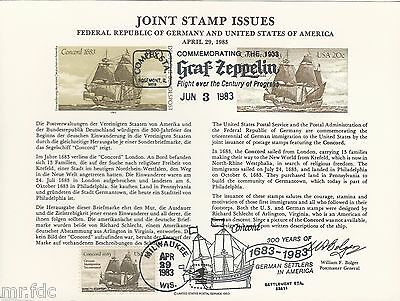 Usa Large Dual Fdc Card 1983 Germany Immigration Two Cancels Graf Zeppelin