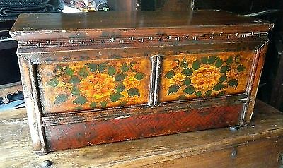 TIBETAN Low Table Cabinet with Peony Asian Furniture c 1940 30w 13d 15h