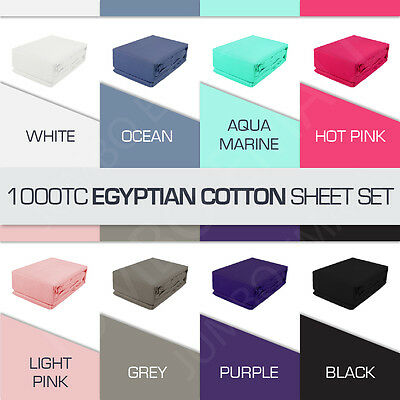 All Aus Size 1000TC EGYPTIAN COTTON 4 Piece Bed Fitted,Flat Sheet+Pillowcase Set