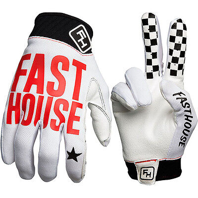 NEW Fasthouse MX Gear Grindhouse White Red Dirt Bike FH Motocross Gloves