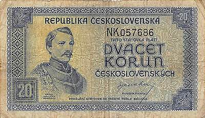 Czechoslovakia  20 Korun ND. 1945  P 61a   prefix NK circulated Banknote K