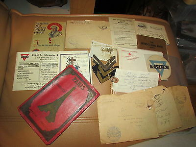 WW1 US Letter, Photo, Paper Grouping Base Hospital 48 Soldier