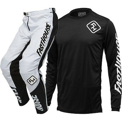 NEW Fasthouse MX Grindhouse Black Jersey White Pants Vented Motocross Gear Set