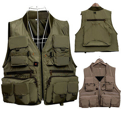 Multi-function Men's Fly Fishing Jacket Vest Multi Pockets Outdoor Travel Gilets