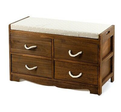 Hallway Storage Bench With Cushion Seat Shoe Drawers Shabby Chic Wooden Cabinet