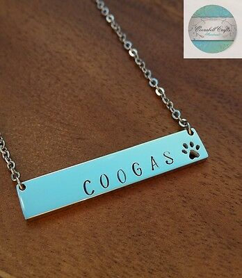 Personalised Pet Memorial Necklace Paw print Jewellery Pet Loss Dog Lover Silver