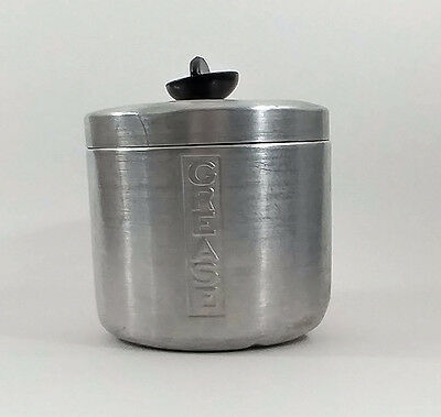 Vintage Aluminum Grease Can with Lid Used Well MCM