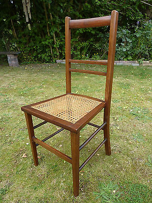 Vintage Mahogany Bedroom Hall Chair Woven Split Cane Inlaid Seat Base #2