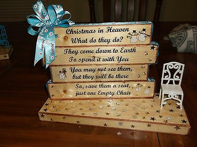 Christmas in Heaven with Chair Handmade Wood Table Top Display Decoration Blue