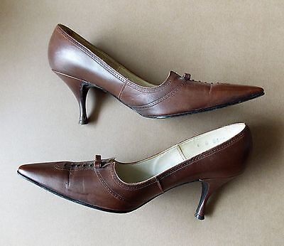 Vintage 1960s Size 6 La Canna Brown Leather Women's Shoes- Minor Flaws