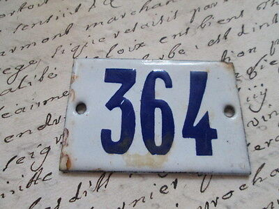"""Antique French Enamel Metal Door House -Gate Number Sign white& blue """"364"""""""