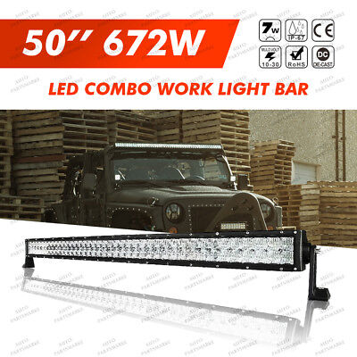 "6D 672W 50""INCH LED Combo Work Light Bar Offroad Driving Lamp 4WD Truck SUV UTV"