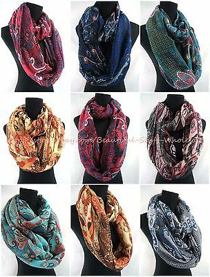 US SELLER-lot of 10 Infinity Scarves Wholesale vintage bohemian infinity scarf