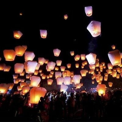 10PCS Chinese Lanterns Sky Flying Candle Paper Wishing Lucky Wedding Party White