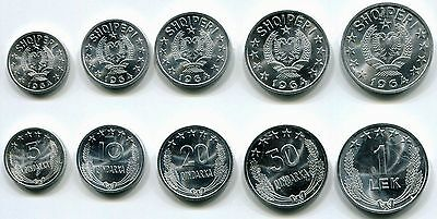 Albania 1964 Full Set of Albanien Albanie Coins Coin UNC